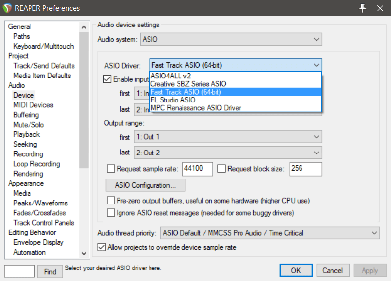 Reaper Audio Preferences Reaper beginner's guide and ASIO Driver settings, in and out controls and ASIO configuration
