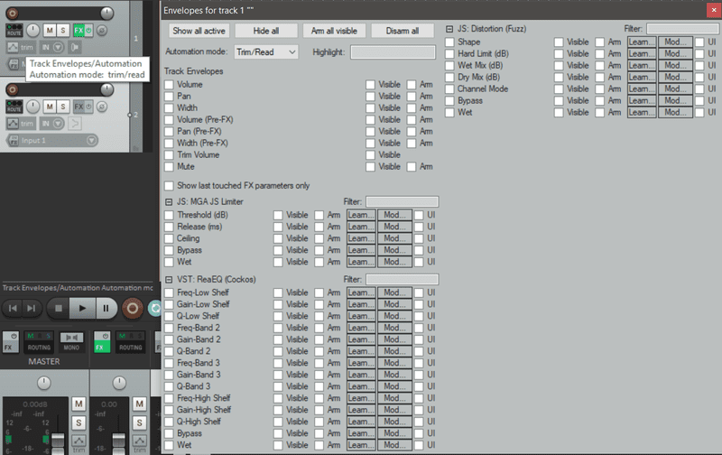 Reaper daw soft synth parameters display screenshot controllers