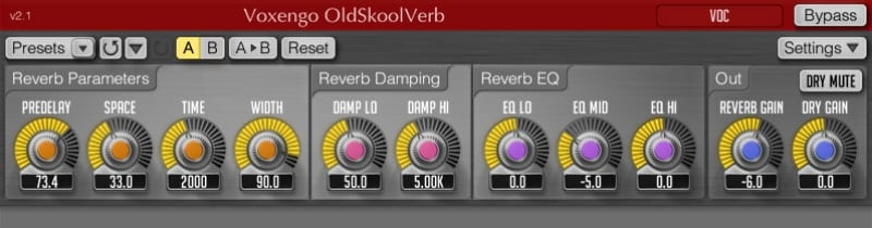 Voxengo Old Skool Verb Plugin rack screen shot with linear controls knobs for space, time, width, damp lo, damp hi and EQ settings