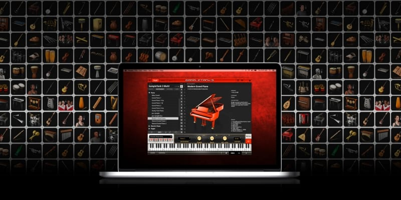 Sample Tank Custom Plugin displaying apply mac and grand piano keyboard settings and background of multiple VST instruments