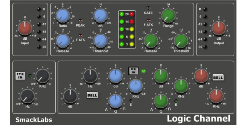 Logic Channel Plugin screen shot from smacklabs with red, blue, greg and green control knobs for DB ouput, EQ, Filter and peak input settings.