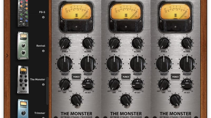 Monster Extreme Dynamic Compressor rack mount display screen shot from with metering display and punch keys