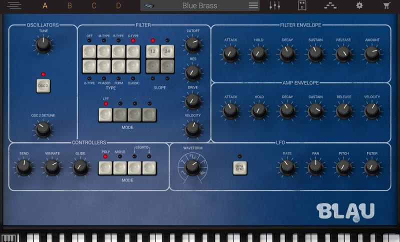 Syntronik Blau, great piano module with oscillators, filters, detune, controllers, amp envelop and LFO in blue