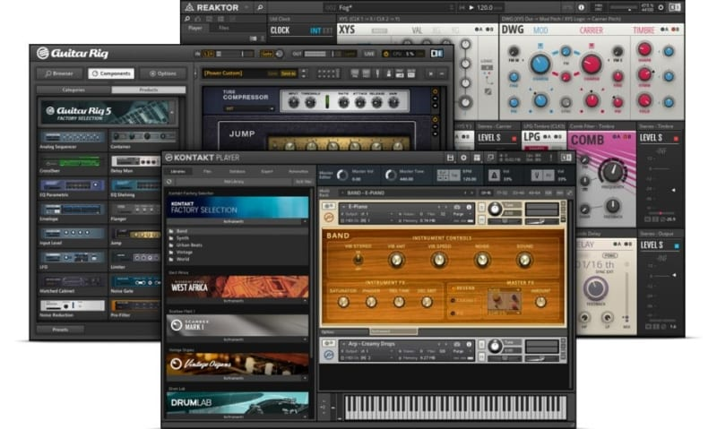 Native Instrument All Plugins Free Bundle display artwork featuring Reaktor, Guitar Rig and Kontact player