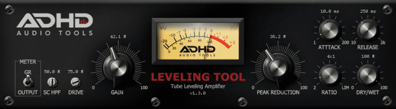 Levelling Tool from Audio Tools ADHD with meter volume display in rack mount screen shot display, including gain, drive, peak reduction, ration, dry and wet modes