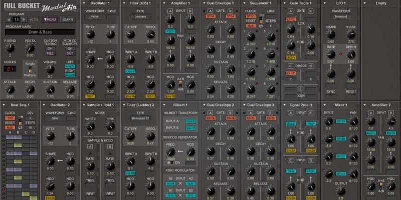 ModulAir Free VST Plugin screen shot with grey design and lots of EQ, controls, effects, LFO and modulation