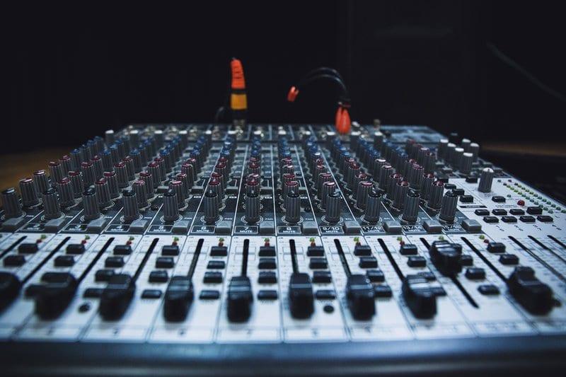Home recording studio mixing desk
