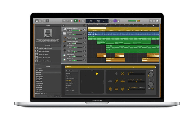 logic pro shown on a macbook