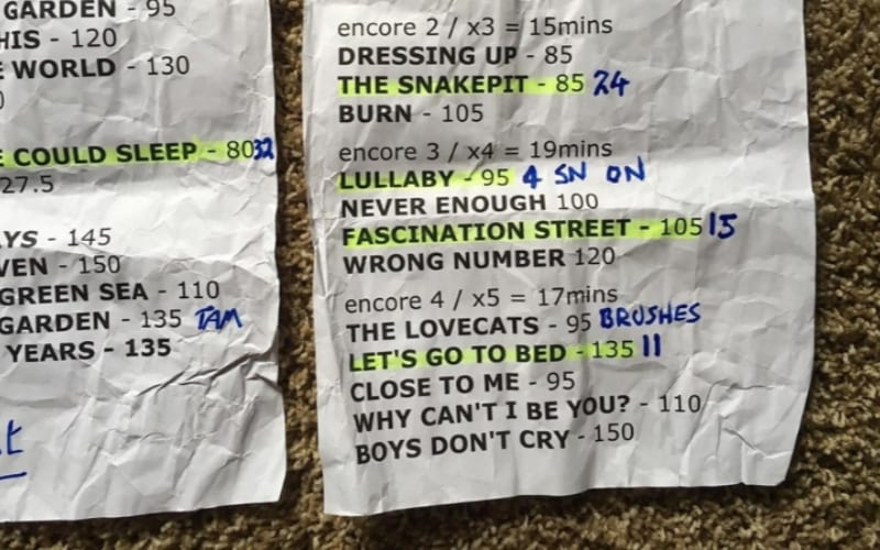 Touring Setlist, start planning months in advance
