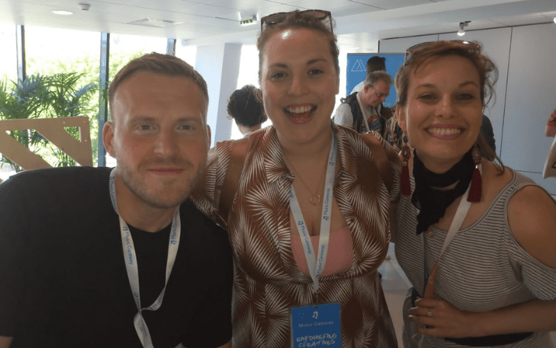 Mark adams, Sophie Small from Music Gateway with Midem Ticket winner, Kate Thomas