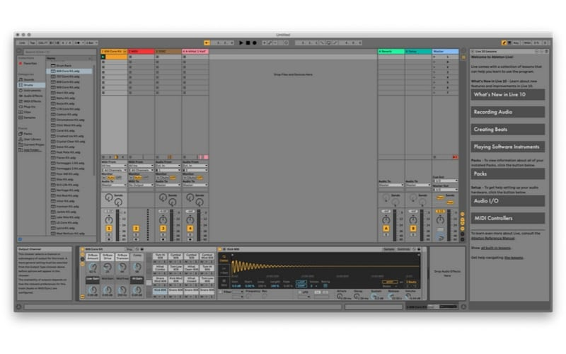 Ableton Sessions view Best DAW displaying screen shot of editing audio with waveform