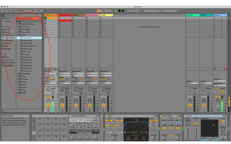 DAW Ableton Effects presets screenshot