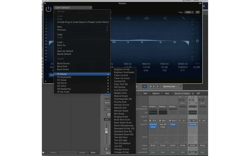 Ableton vs Logic Pro X Effects presets VST plugin options discplay screenshot