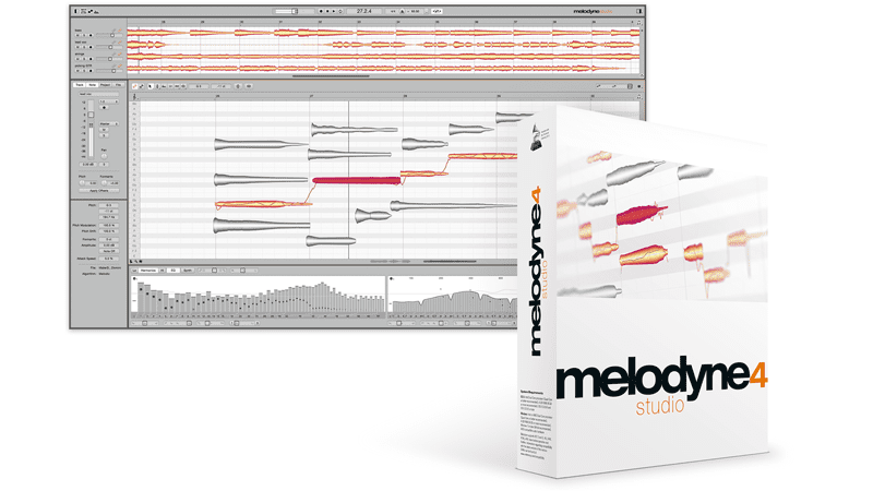 CELEMONY MELODYNE 4 studio box and screen shot of software on computer