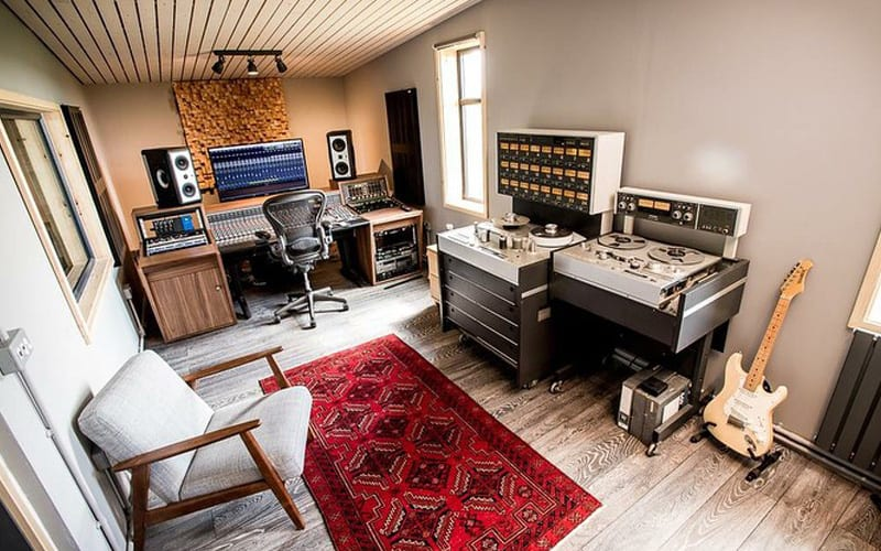 Build Your Own Home Recording Studio with live room, take machine, guitar and mixing desk