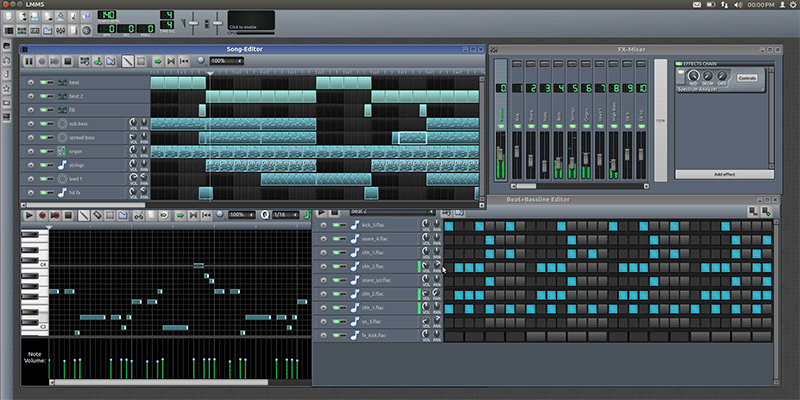 LMMS Beat Maker screen shot with midi song display and edit functionality