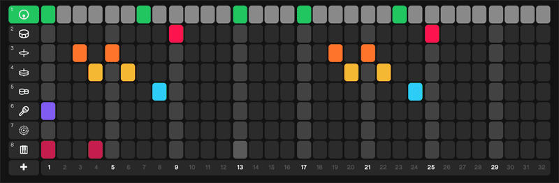 Splice Beat Maker Online screen shot with coloured dots and instrument mapping for midi