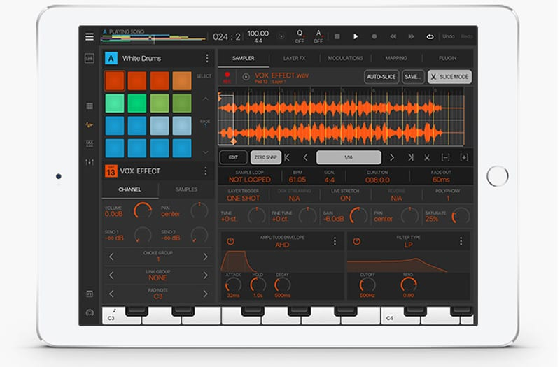 Intua Beat Maker on an iPad with orange waveform display and music production controls