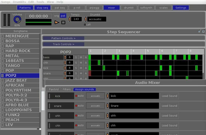OrDrumBox Beat Maker screen shot with pop song midi display and step sequencer