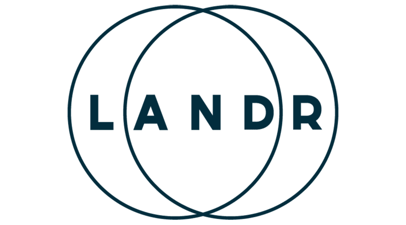 Landr Free Online Mastering logo with two circles overlapping