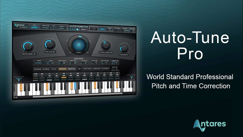 Antares Autotune Pro from Antares logo and screen shot featuring keyword display and multiple controls