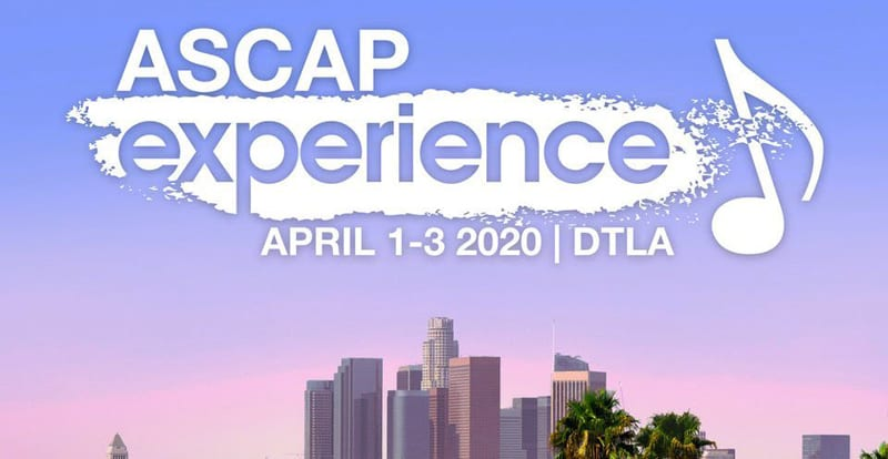 ASCAP experience logo with city background in white and purple for songwriters in the USA