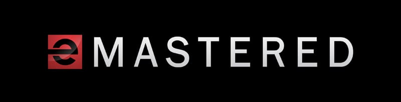 eMastering Online logo in white text and black background