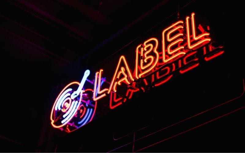 record label neon street sign