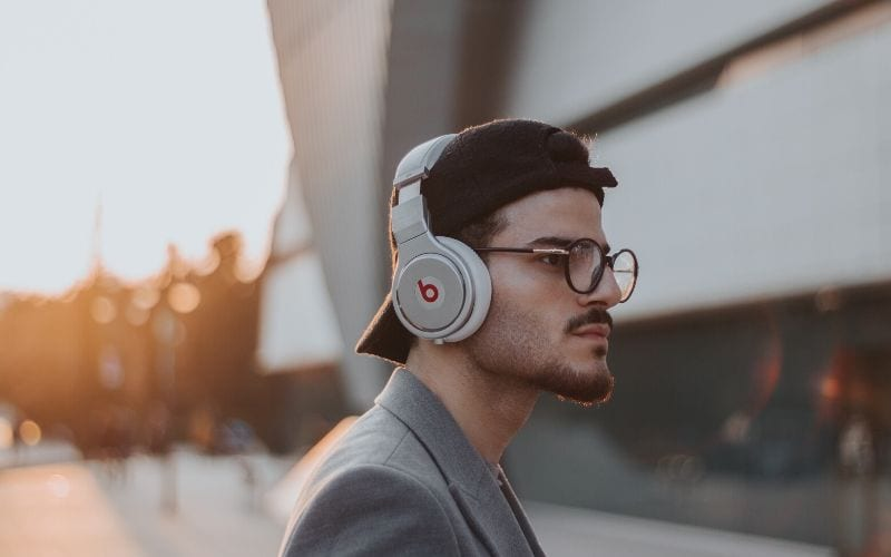 man with Beats headphones - do they work as studio headphones for music production
