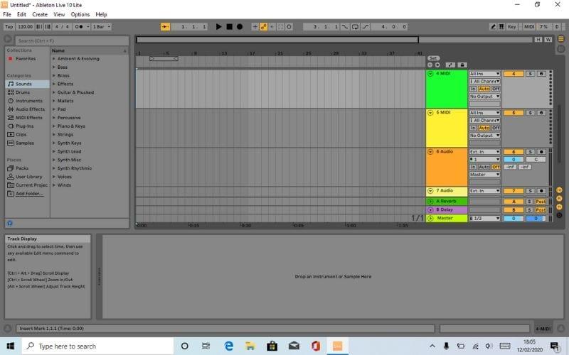 Ableton Live Lite 10 Arrangement View