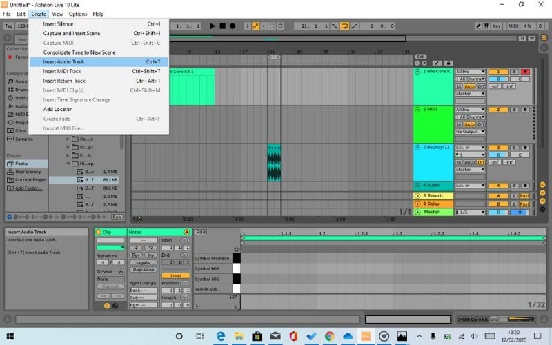 Ableton Live Lite 10 Create Audio Track