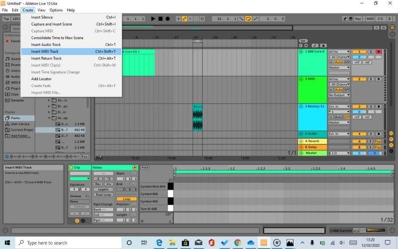 Ableton Live Lite 10 Insert MIDI Tracks