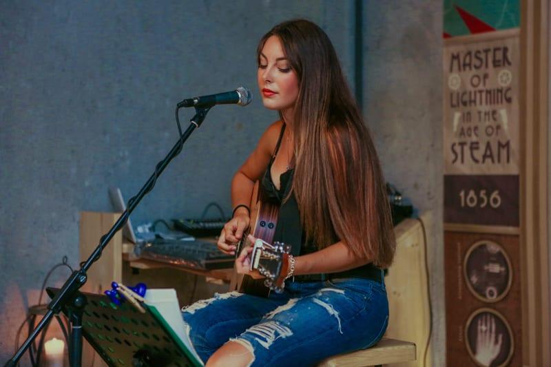 Singer songwriter recording