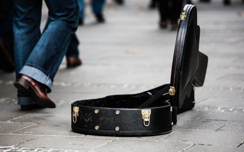 suitcase street busker