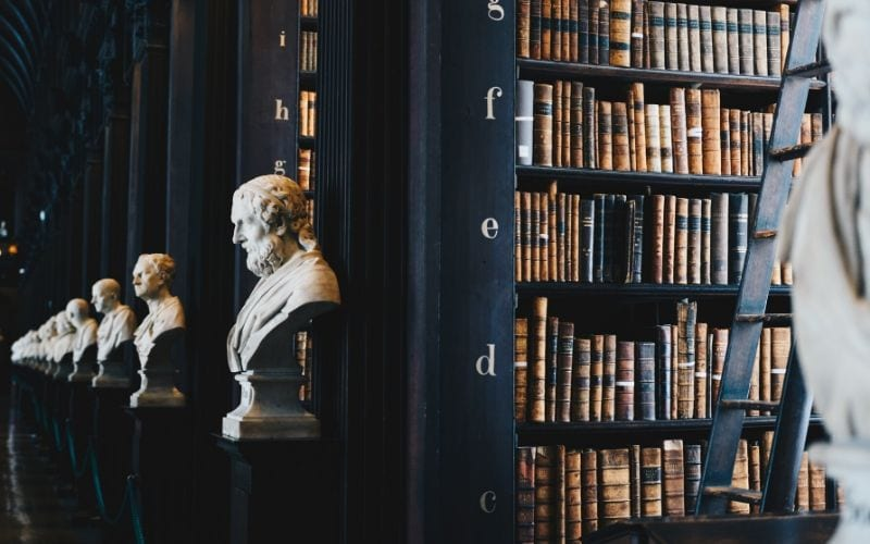 library with statues represent neighbouring rights