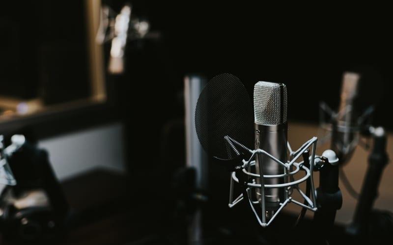condenser mic in a studio for vocal recording