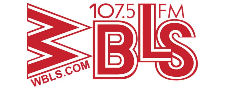 Red and white WBLS radio logo