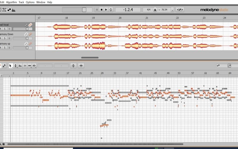 Melodyne importing harmony vocals screenshot