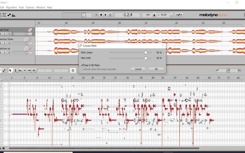 Melodyne vocal tuning screenshot