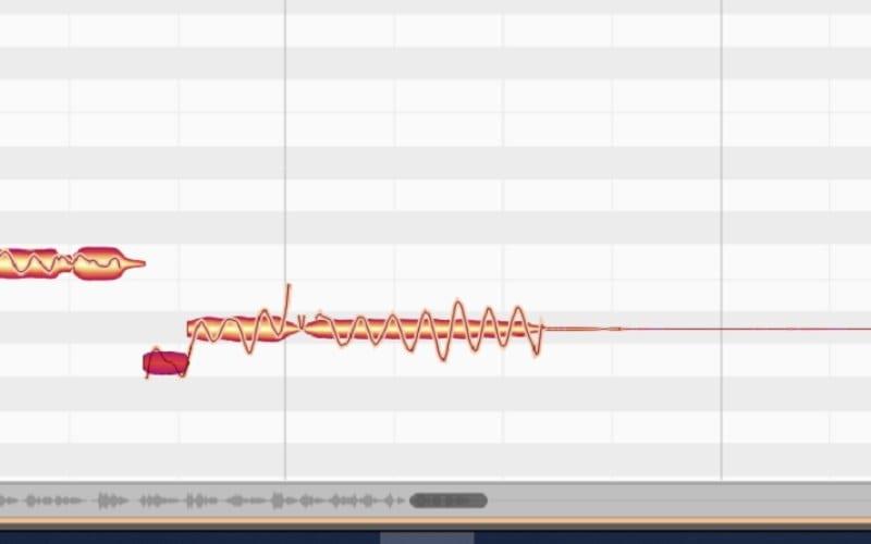 Melodyne screenshot pitching blobs