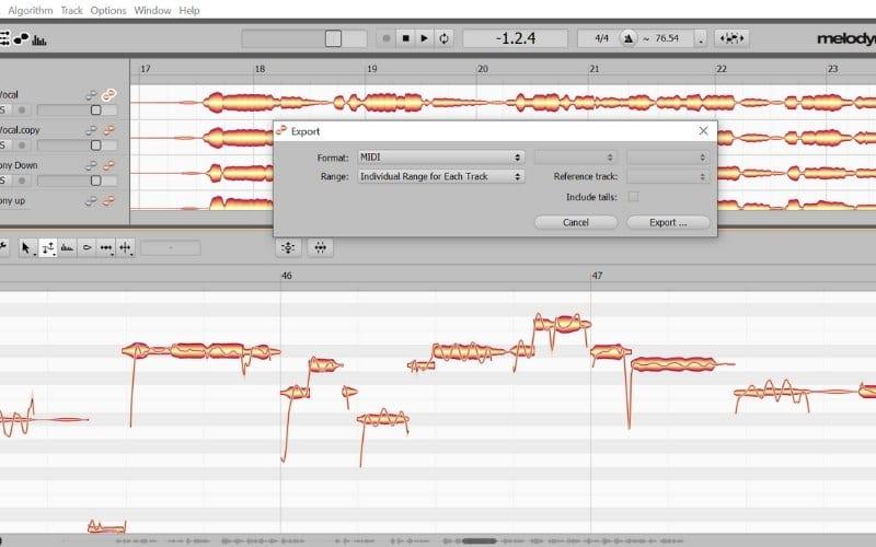 Melodyne exporting as MIDI screenshot