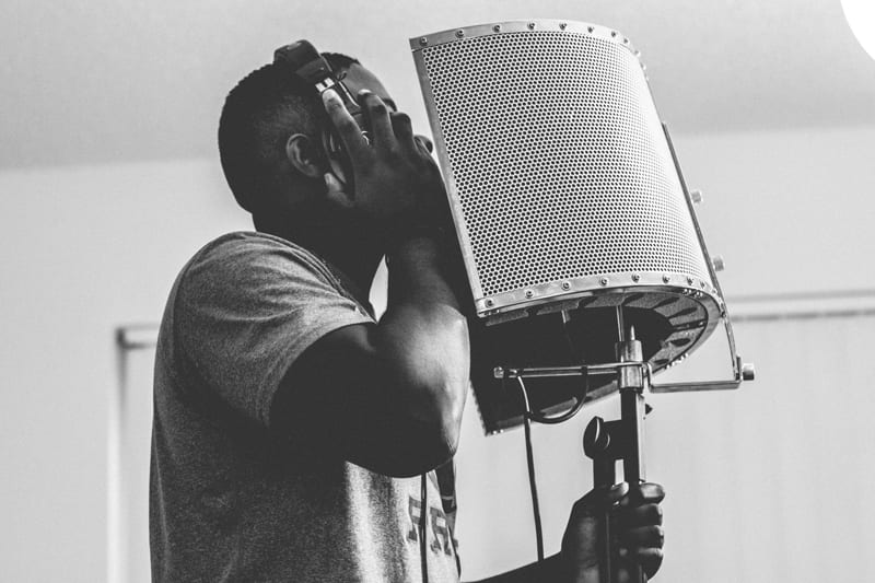 Male Singer recording