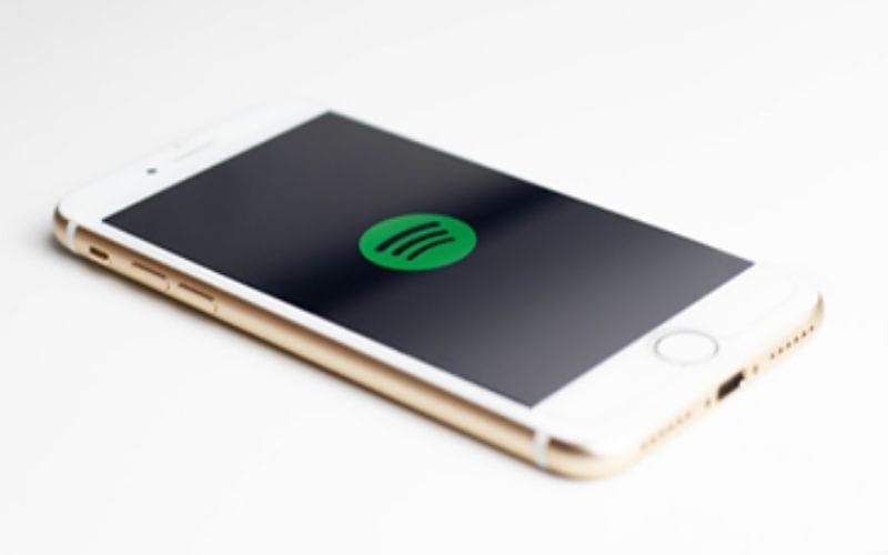 spotify logo on mobile phone