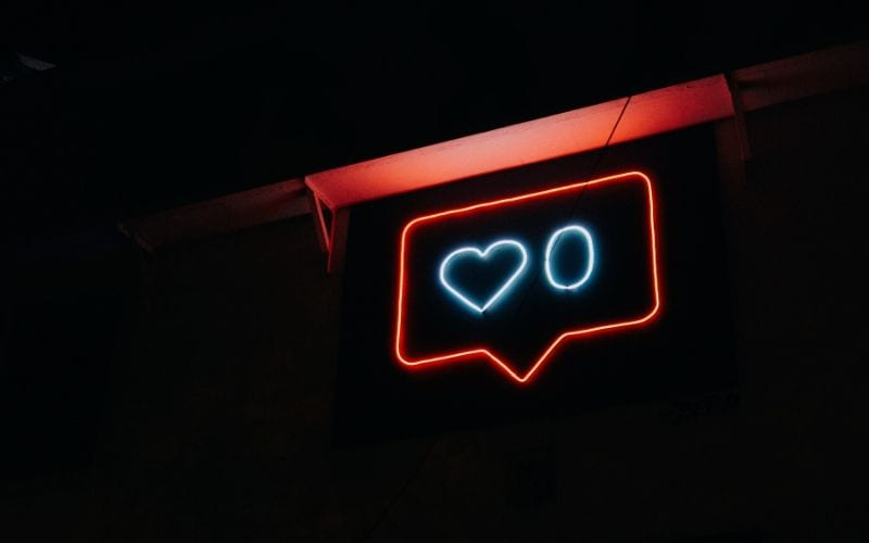 social media instagram likes neon sign