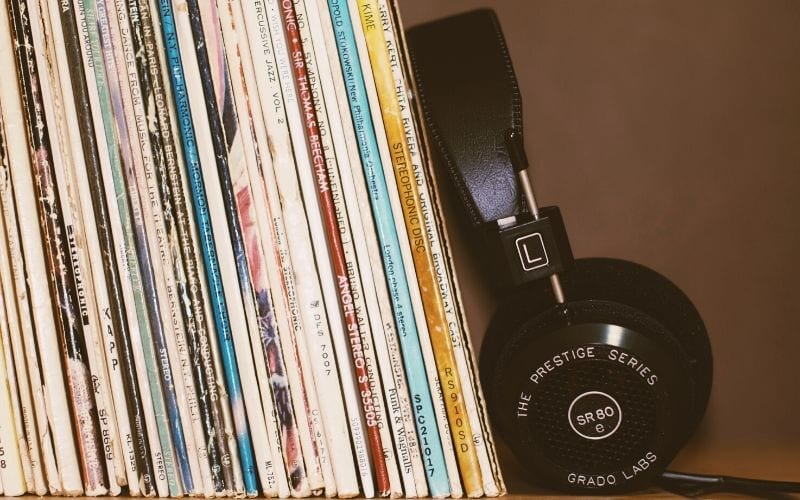 headphones and records
