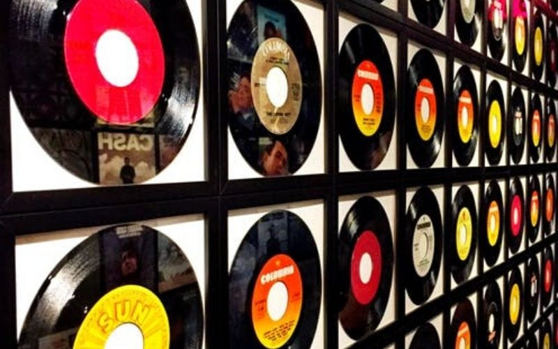 vinyl records on wall label