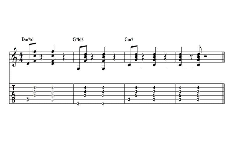 C minor II-V-I sequence chord progression