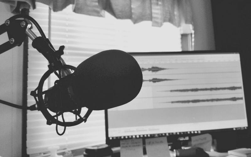 microphone and DAW screen