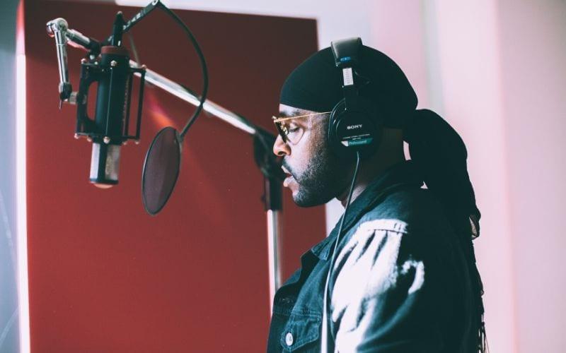 Rapper at mic