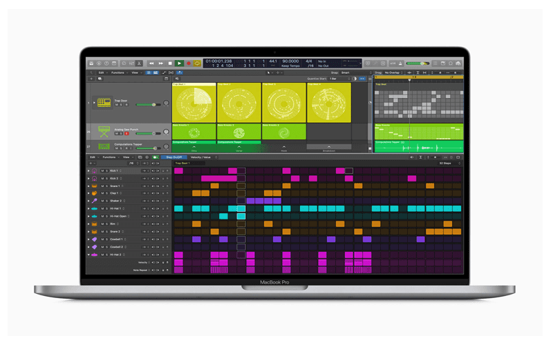 Macbook with new Logic Pro X sampler from update